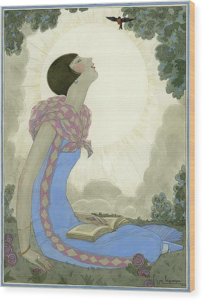 A Woman Looking At A Small Bird Wood Print by Georges Lepape