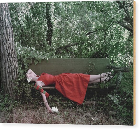 A Woman Lying On A Bench Wood Print