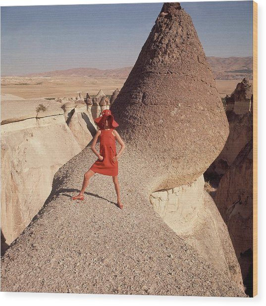 A Woman Modeling A Red Dress In Goreme Wood Print