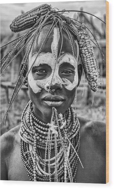 A Woman Of The Karo Tribe (omo Valley-ethiopia). Wood Print
