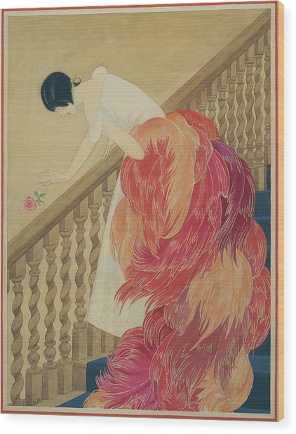 A Woman On A Staircase Wood Print by George Wolfe Plank