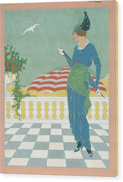 A Woman On A Terrace Wood Print by Will Hammell