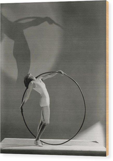 A Woman Posing With A Hula Hoop Wood Print