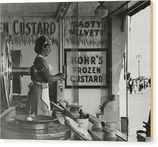 A Woman Selling Custard Wood Print by Lusha Nelson