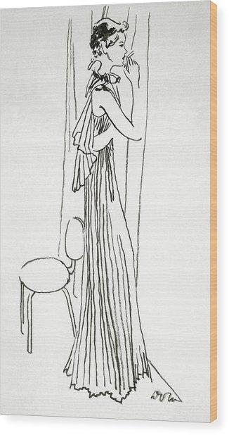 A Woman Smoking Wood Print by Abrams