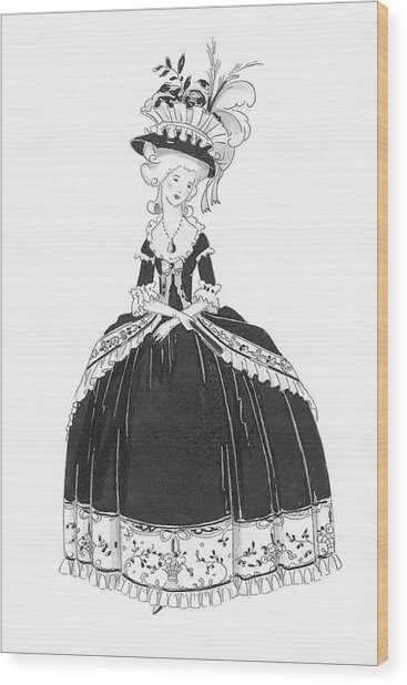 A Woman Styled Like Marie Antoinette Wood Print by Claire Avery