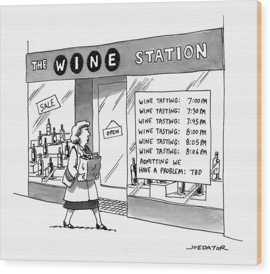 The Wine Station Wood Print