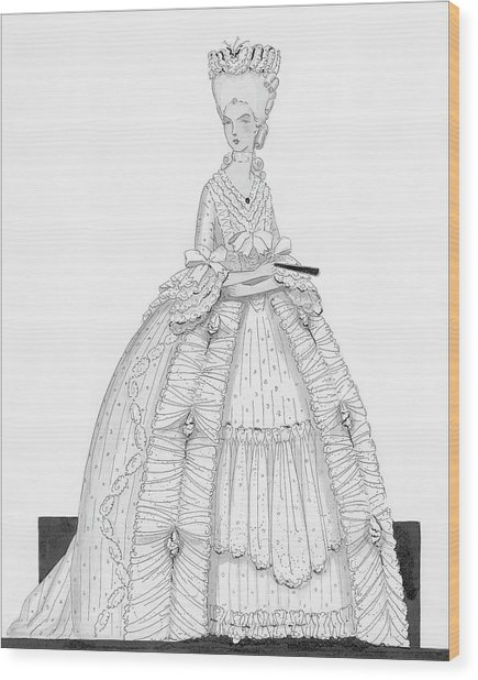 A Woman Wearing A Dress From 1790 Wood Print by Claire Avery