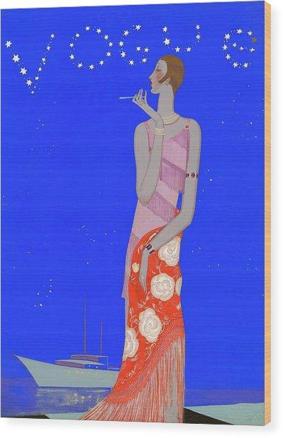 A Woman Wearing A Flapper Dress Wood Print