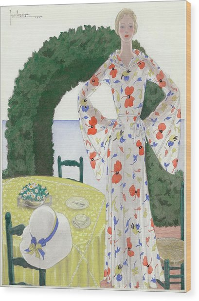 A Woman Wearing A Floral Dress Wood Print by Georges Lepape