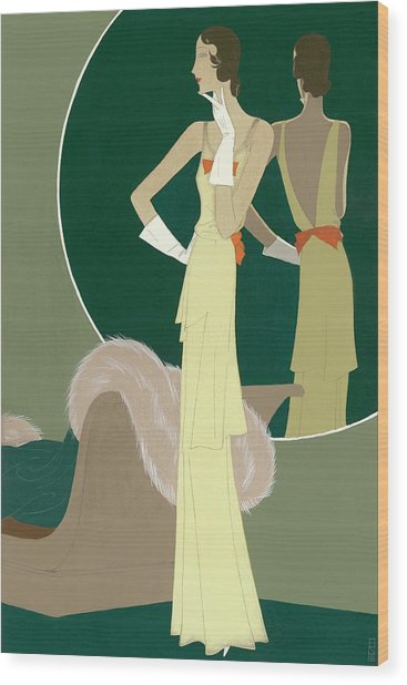 A Woman Wearing A Mainbocher Dress Wood Print by Eduardo Garcia Benito