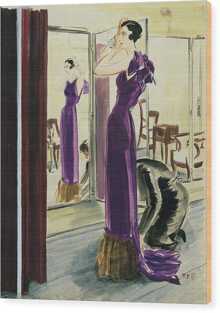 A Woman Wearing A Purple Augustabernard Evening Wood Print
