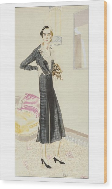 A Woman Wearing A Saks-fifth Avenue Suit Wood Print by R.S. Grafstrom
