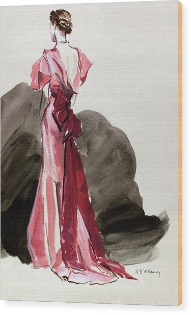 A Woman Wearing A Vionnet Dress Wood Print by Rene Bouet-Willaumez