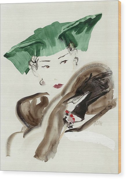 A Woman Wearing An Agnes Hat Wood Print by Rene Bouet-Willaumez