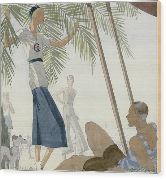 A Woman Wearing Patou Clothing At The Beach Wood Print by Jean Pages