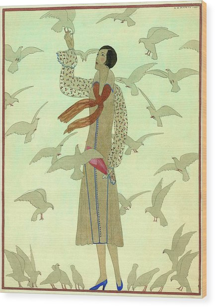 A Woman With Pigeons Wood Print by Andre E.  Marty