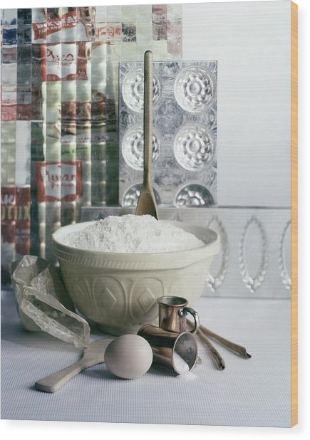 A Wooden Spoon In A Bowl Of Flour Wood Print