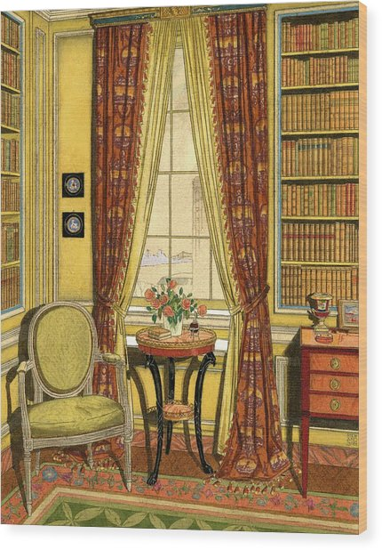 A Yellow Library With A Vase Of Flowers Wood Print