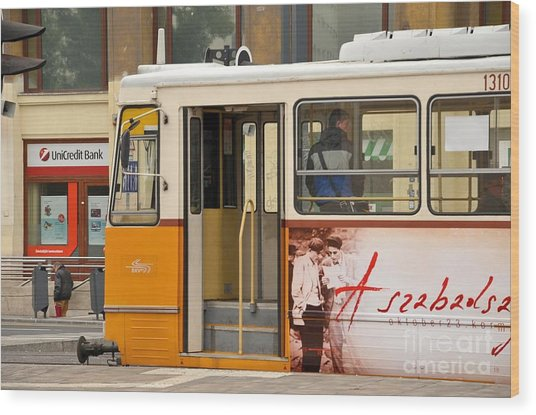 A Yellow Tram On The Streets Of Budapest Hungary Wood Print