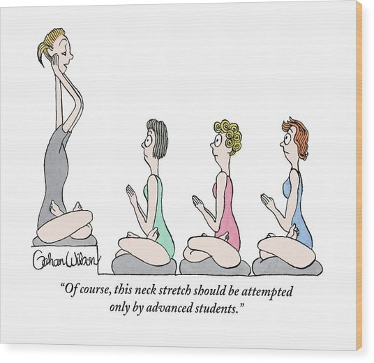 A Yoga Instructor Is Seen Stretching Out Her Neck Wood Print