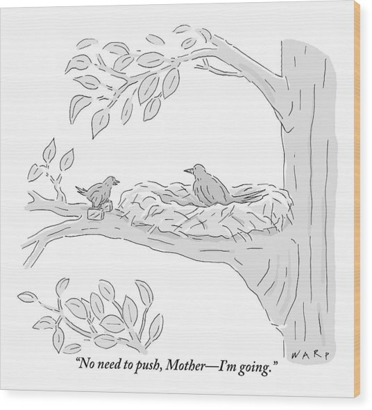 A Young Bird Carrying Two Small Suitcases Stands Wood Print