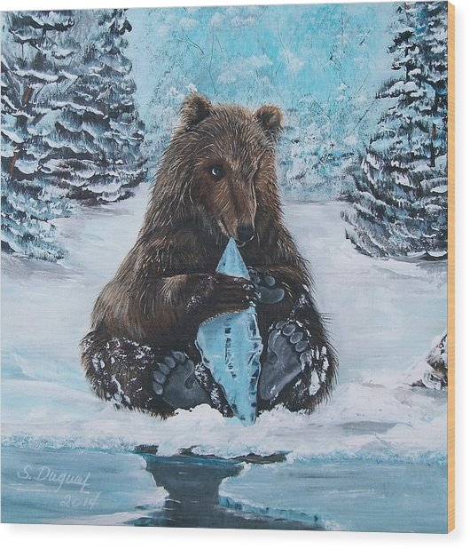 A Young Brown Bear Wood Print
