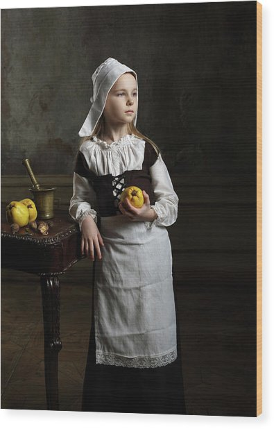 A Young Girl With Some Quinces Wood Print