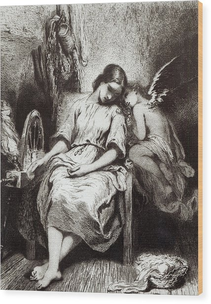 A Young Woman Dozing With An Angel Wood Print