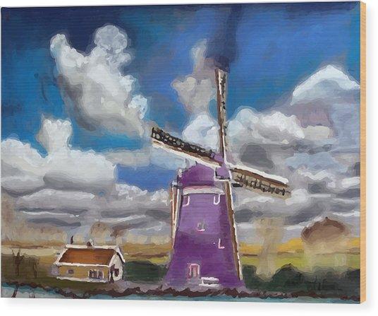 A20090813--dutch Wind Mill Wood Print