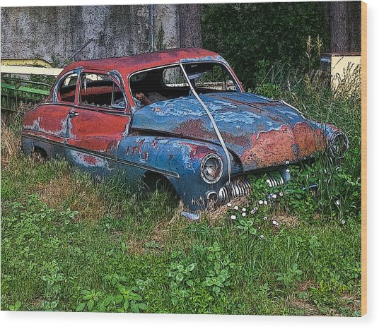 Abandoned 1950 Mercury Monteray Buick Wood Print
