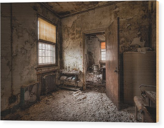 Abandoned Asylum - Haunting Images - What Once Was Wood Print