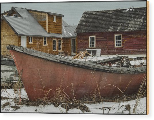 Abandoned Boat Wood Print