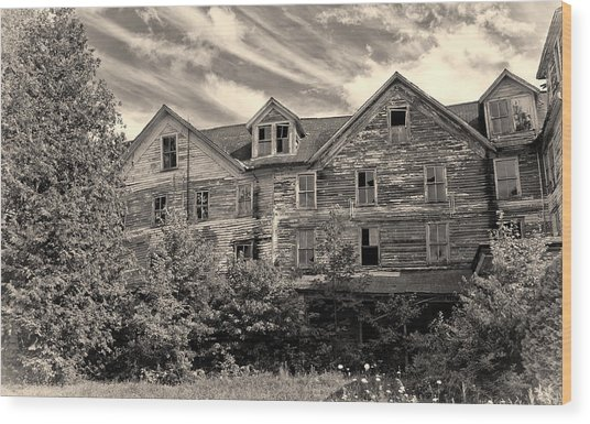 Abandoned But Awesome Wood Print