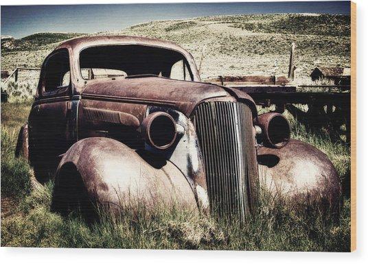 Abandoned Car Hull Wood Print