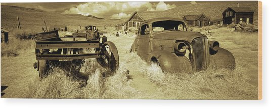 Abandoned Car In A Ghost Town, Bodie Wood Print
