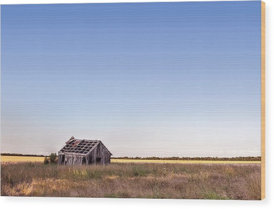 Abandoned Farmhouse In A Field Wood Print