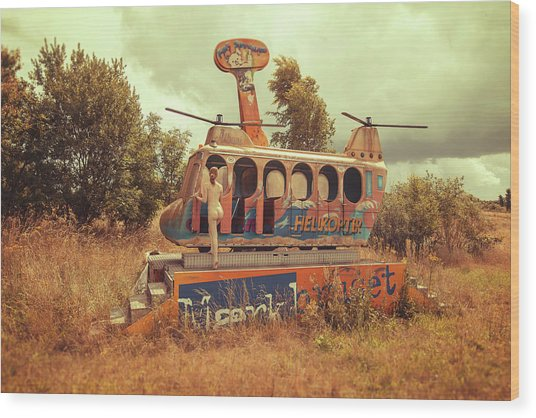Abandoned Helicopter Wood Print