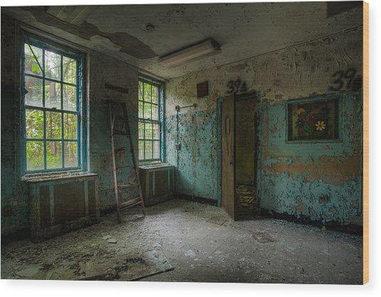 Abandoned Places - Asylum - Old Windows - Waiting Room Wood Print