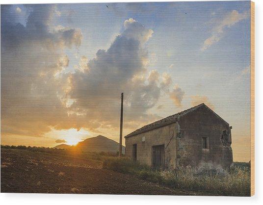 Abandoned Warehouse Wood Print