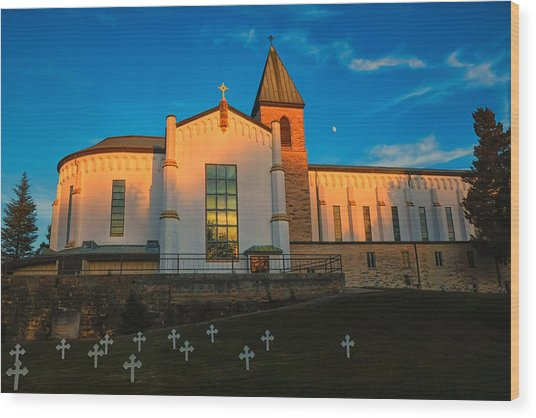 Abbey Of Gethsemene Golden Hour Wood Print