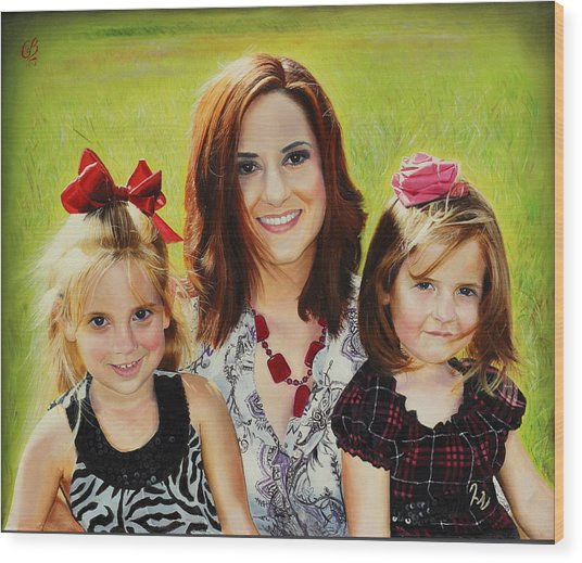 Abby And The Girls Wood Print