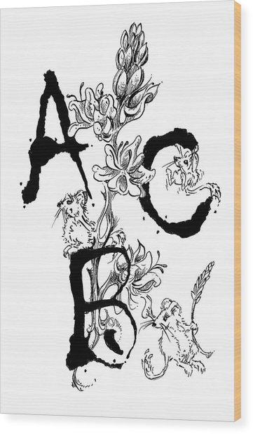 A B C  Wood Print
