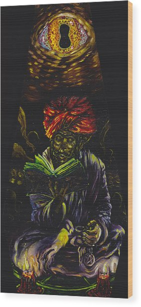 Abdul Alhazred With Necronomicon Wood Print by Mani Price