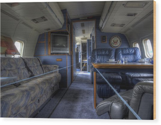 Aboard Air Force Two Wood Print