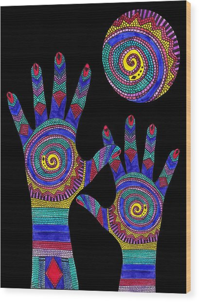 Aboriginal Hands To The Sun Wood Print