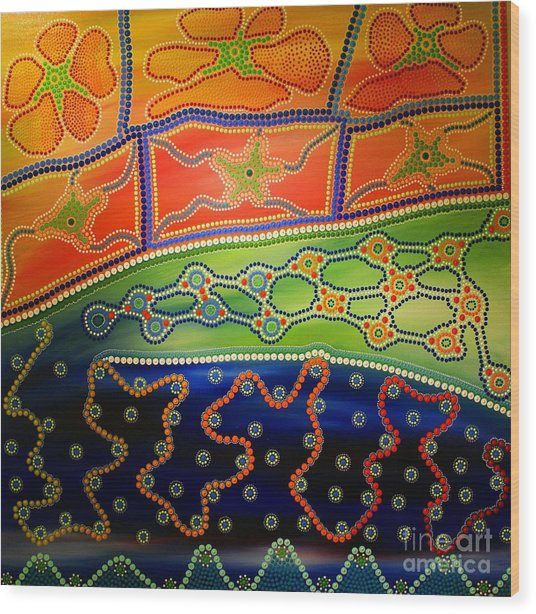Original Sold Aboriginal Inspirations 7 Wood Print