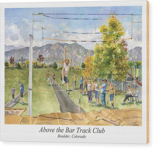 Above The Bar Track Club Poster Wood Print
