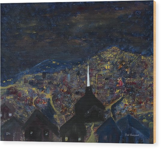 Above The City At Night Wood Print