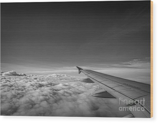 Above The Clouds Bw Wood Print